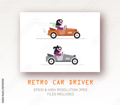In de dag Abstractie Art Retro Style Driver vector illustration