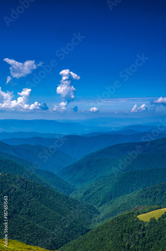 Background landscape with Ukrainian Carpathian Mountains in the Pylypets
