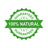 100% natural grunge rubber stamp. Vector illustration on white background. Business concept guaranteed natural stamp pictogram. - 167652117