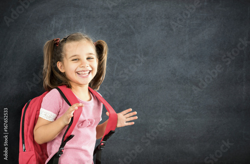 Plakat Back To School Concept, Happy Smiling Schoolgirl Studying