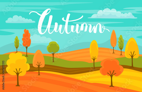 Foto op Aluminium Groene koraal autumn fall cartoon landscape background with handwritten text