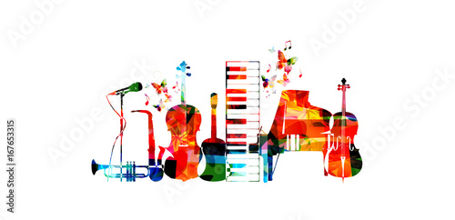 Music poster with music instruments. Colorful microphone, piano, saxophone, trumpet, violoncello, contrabass and guitar isolated vector illustration design © abstract