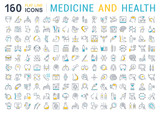 Set Vector Flat Line Icons Medecine and Health - 167655182