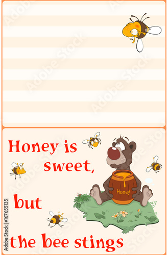 Illustration of a Bear and Bees. Postcard. Proverb
