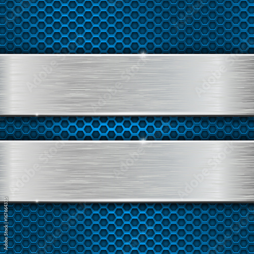 Iron brushed plates on blue metal perforated background