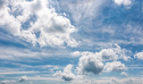 cloudy dynamic formation on a blue summer sky - 167682944