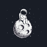 Cute little astronaut sits on Moon - 167684338
