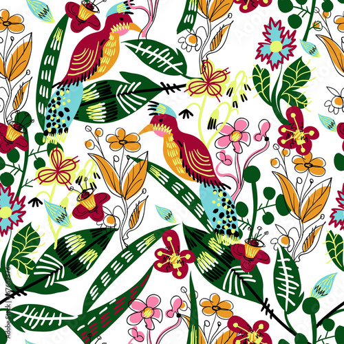 Seamless pattern with bird, leaves and flowers for textile design - 167687376