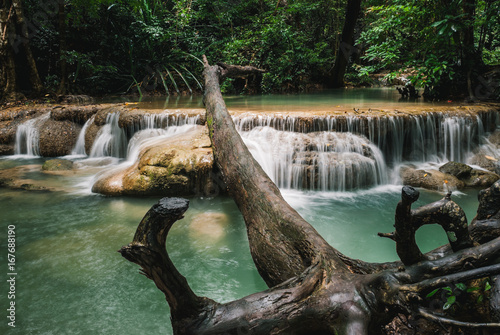 Erawan waterfall in Erawan National Park,Thailand. - 167688190