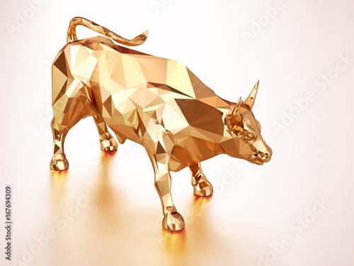 Render illustration of golden bull