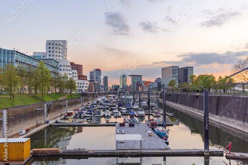 Sticker Sunset at Duesseldorf Marina / Germany