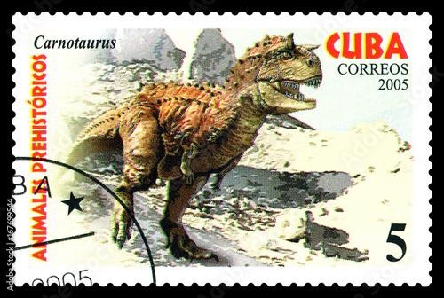Plakat Postage stamp.   Dinosaur Carnotaurus.