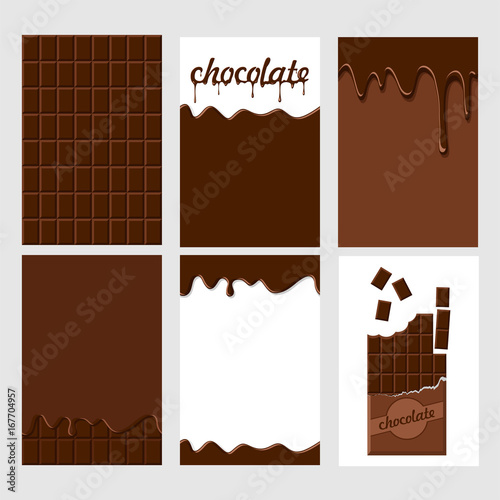fototapeta na ścianę Set of bright food cards. Set of chocolate and choco glaze. Chocolate seamless pattern, background, card, poster. Chocolate glaze pattern, background. Inscription chocolate dripping glaze