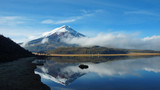 Cotopaxi volcano reflected in the water of Limpiopungo lagoon on a cloudy morning - Ecuador - 167706121