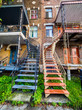 Typical Montreal neighborhood street with staircases