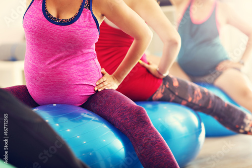 Group of pregnant women during fitness class