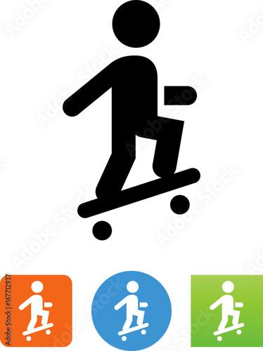 Fotobehang Skateboard Skateboard Wheelie Icon - Illustration