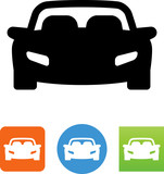 Sports Car Front View With Seats Icon - Illustration