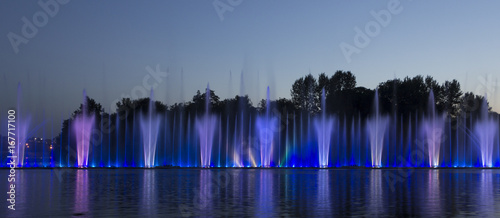 Musical fountain with colorful illuminations at night
