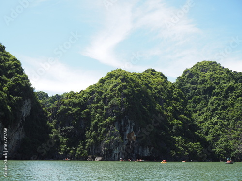 Foto op Canvas Khaki Green tree forest continuous cliffs beside the sea in Ha long bay, Vietnam