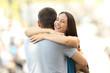 Happy girlfriend hugging her partner after encounter