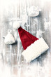 Quadro Santa Claus hat on painted wood