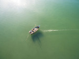 Top view of fishing boats in the sea, Fishing boat floating in the sea