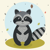 cartoon raccoon wild animal with falling leaves landscape nature vector illustration