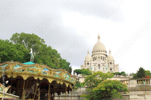 Sacre Coeur Cathedral on Montmartre Hill, Paris.