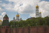 Summer touristic site Kremlin wall orthodox cathedral Moscow Russia May 2017