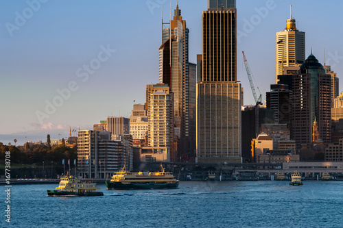 Sydney Harbour Ferry departing from Circular Quay in the morning with Sydney skyline in background