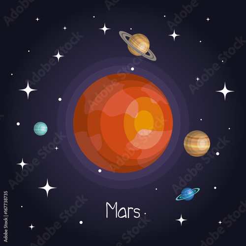 planet in space with stars shiny cartoon style vector illustration