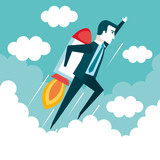 success in business start up businessman is flying on the rocket up vector illustration