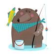 Bear fisherman with fishing rod catching fish
