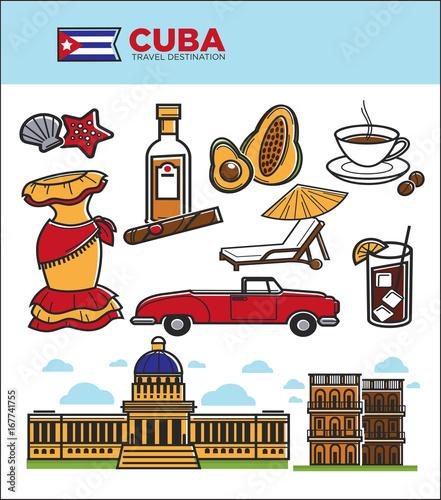 Cuba travel landmarks symbols and tourist sightseeing vector icons