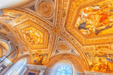 Inside the Vatican Museum, one of the largest museums in the world, Vatican Galleries frescoes. Italy. - 167743152