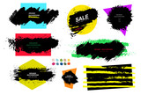 Set of black paint on colored figures, ink brush, brush. Dirty element of artistic design, box, frame or background for text. Line or texture. Vector illustration. Isolated on white background
