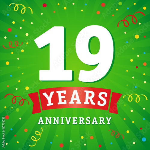 19 years anniversary logo celebration card 19th years anniversary vector background with red ribbon and