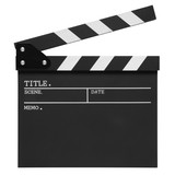 open blank clapper board on top view vintage white wood table for the action scene or filming and shooting movie or cinema production included clipping path