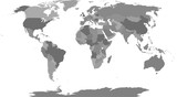 Political map of the world. Individual countries colored in the shades of gray. Robinson projection.