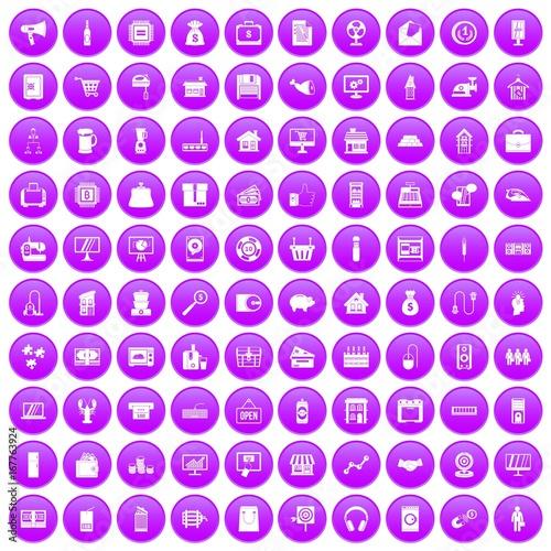 100 sales icons set purple