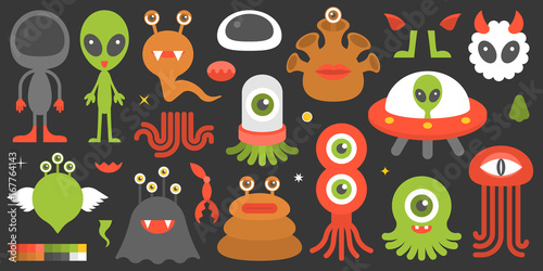 big set of cute character of aliens and monsters with element such as tentacle, legs, eye, ear and color palette, suitable for design in game application of smartphone and tablet