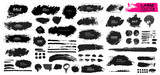 Large set of black paint, ink brush, brush. Dirty element design, box, frame or background for text. Line or texture. Vector illustration. Isolated on white background. Blank shapes for your design - 167764752