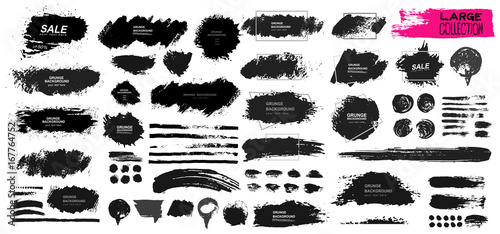 Large set of black paint, ink brush, brush. Dirty element design, box, frame or background for text. Line or texture. Vector illustration. Isolated on white background. Blank shapes for your design © Anatoliy