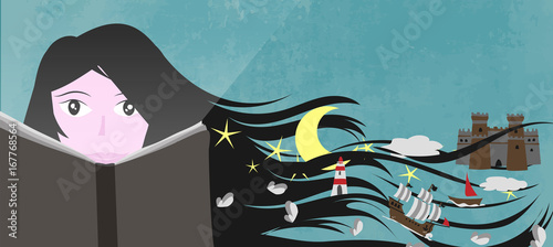 A girl read a book and her imagination and fantasy create a magic world - Vector illustration © MM Studio