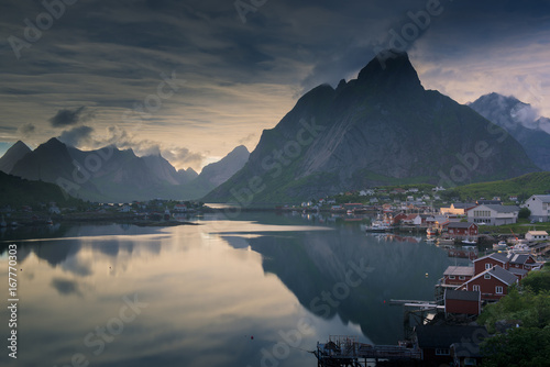 Foto op Canvas Nachtblauw Sunset over beautiful Reine village in Lofoten, Norway