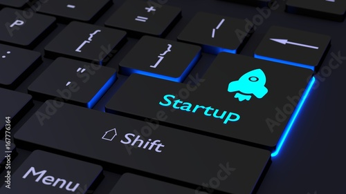 Fridge magnet Black keyboard glowing startup concept