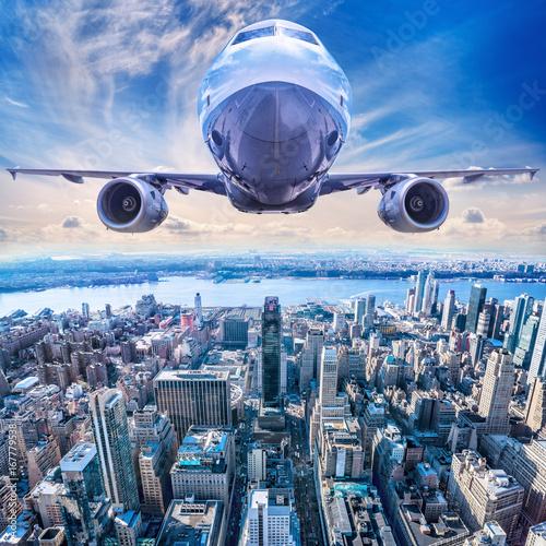 airplane above new york city