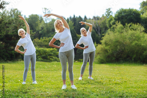 Foto op Canvas Khaki Healthy females training with pleasure