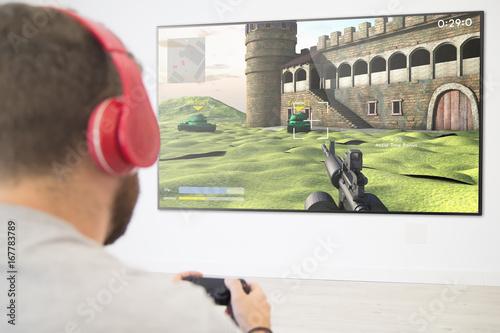 Man playing online game Poster
